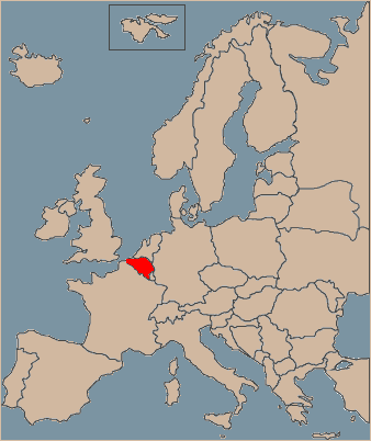 Belgium on Europe map