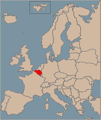 Belgium on Europe map