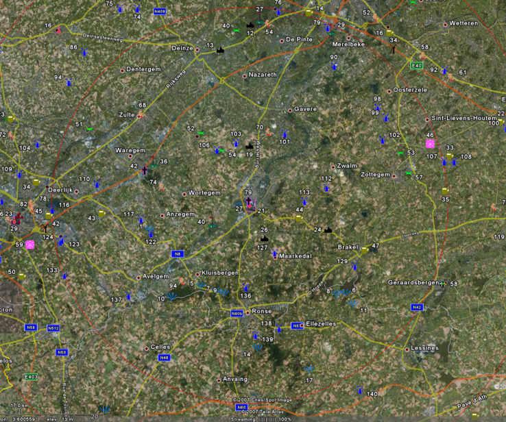 Zoom on Audenarde with Roads