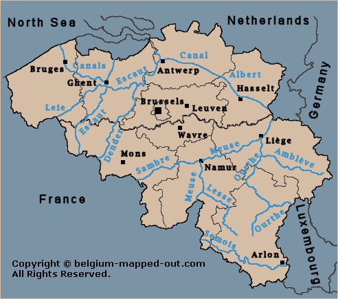 The main Belgian waterways